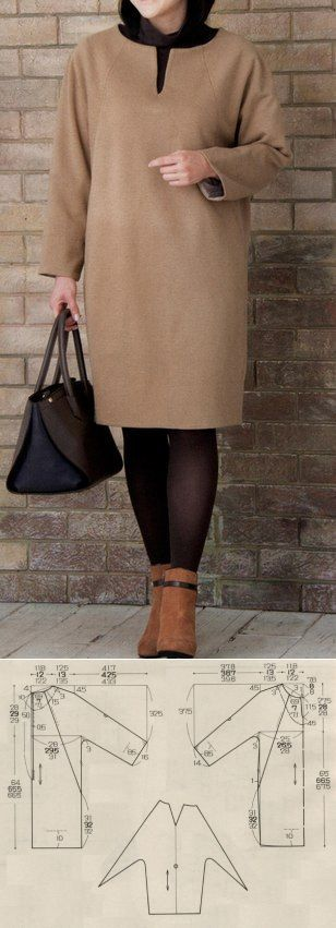 Простые выкройки | простые вещи/Платье (туника) прямого силуэта с рукавами реглан. Выкройка на три размера: ОГ94-ОТ76-ОБ98 ОГ100-ОТ80-ОБ102 ОГ106-ОТ90-ОБ112