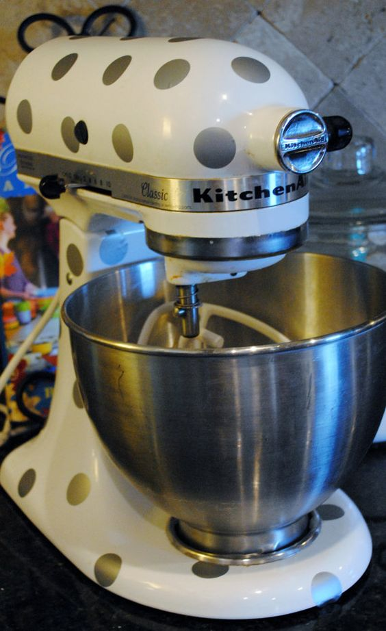 Polka Dot Decals for my Mixer!!! SO Cute- I'm torn between gold and white- my kitchen aid is black!