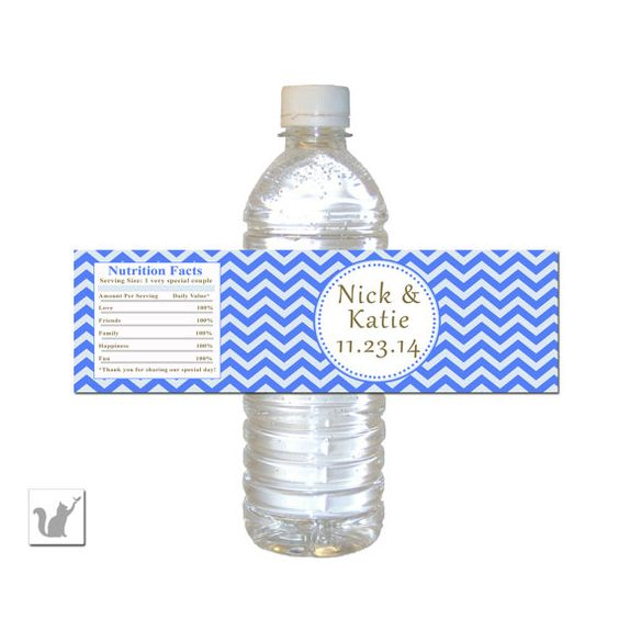Printable Blue Chevron Wedding Water Bottle Label Wrapper Personalized Wedd