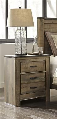 Trinell Vintage Casual Brown Two Drawer Night Stand