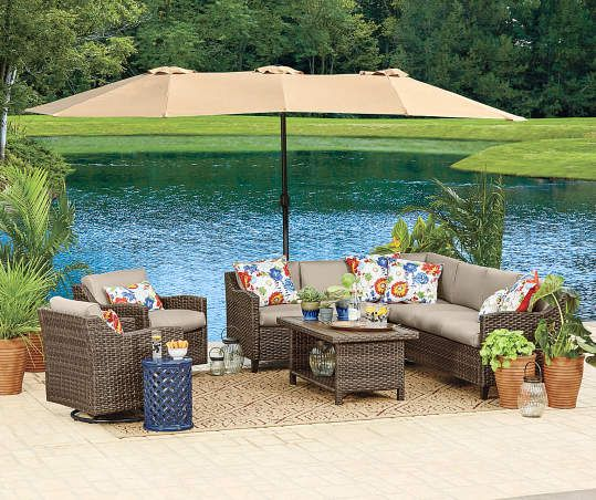 Linen Triple Vent Market Patio Umbrella With Base 15 Patio Patio Umbrellas Backyard Landscaping