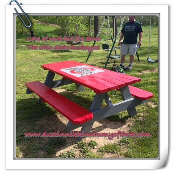 Do It Yourself – Ohio State Buckeye Picnic Table #diy #buckeyes #ohiostate