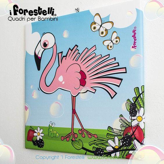 Quadretto per la camera dei bambini con il simpatico fenicottero rosa.