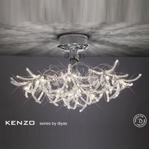Kenzo Semi Flush Ceiling Light - Contemporary style 12 light semi flush  ceiling fitting, finished in polished chrome, complete