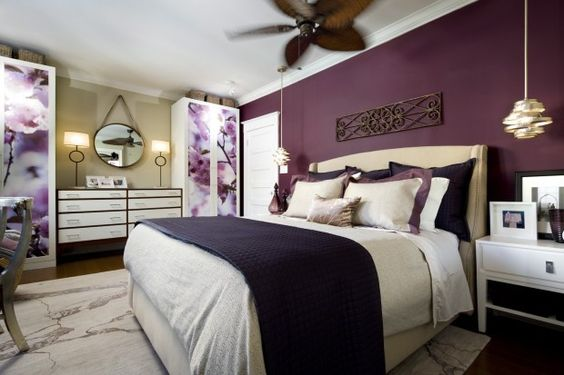 Candice olson bedroom plum wall cabinets darker purple for Plum and cream bedroom designs