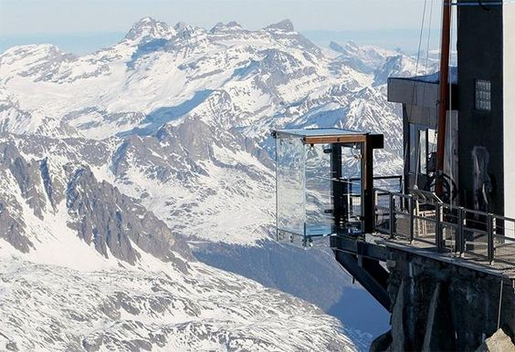 Step into the Void Skywalk, perched at 3842m on the Aiguille du Midi, Chamonix, French Alps ✯ ωнιмѕу ѕαη∂у