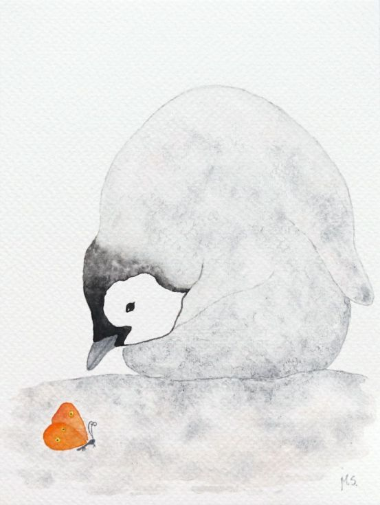 Buy The emperor penguin chick with a butterfly, Watercolor by Malgorzata Stepniak on Artfinder. Discover thousands of other original paintings, prints, sculptures and photography from independent artists.