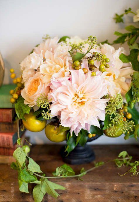 Dahlia, garden roses, berzelia berries