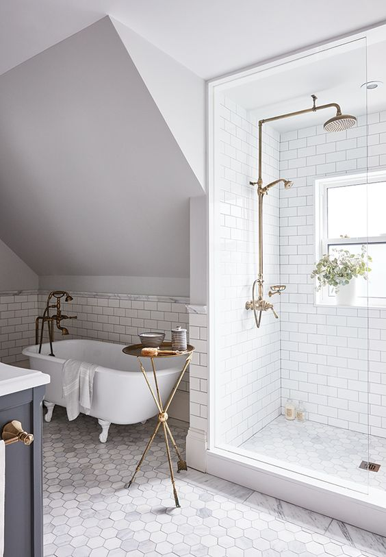 Classic vintage style bathroom design with hex tile floor and clawfoot tub by Sarah Richardson. #bathroom #classic #marble #whitebathroom
