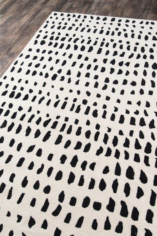 Polka Dots Handmade Tufted Wool Ivory Black Area Rug Black Area