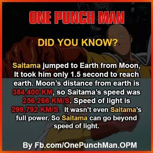 One Punch Man, another fact to prove that Saitama is far stronger than Goku
