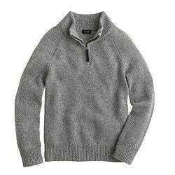 Boys' cashmere half-zip sweater