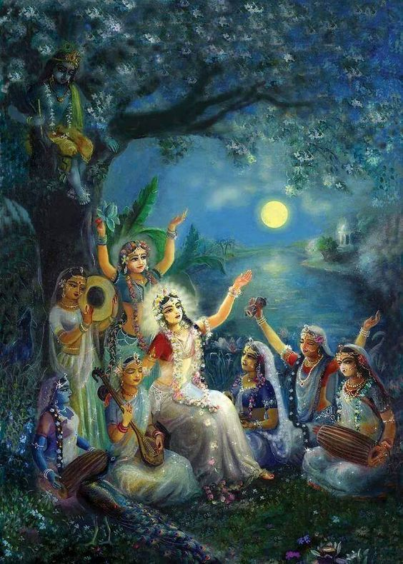 """All the gopis assembled together on the bank of Yamuna, and expecting that Krsna must return to them, they simply engaged in the chanting of the glories of Sri Krsna--Hare Krsna, Hare Krsna, Krsna Krsna, Hare Hare, Hare Rama, Hare Rama, Rama Rama, Hare Hare!"" (Krishna book 30)"