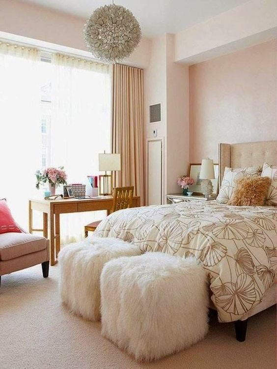 Champagne rose gold bedroom for girls women house for Decoration maison rose gold