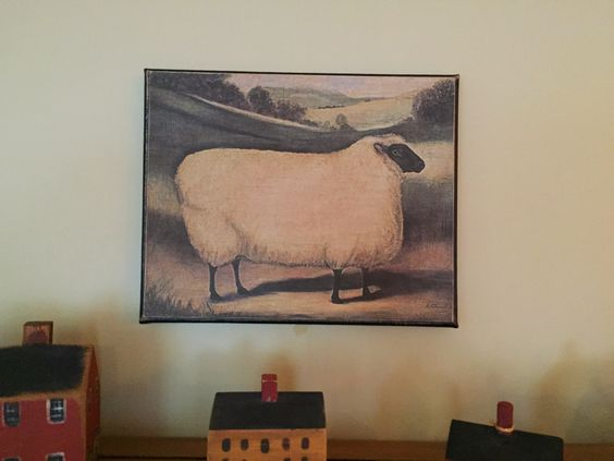 Primitive Portrait Print of Sheep Mounted on Canvas