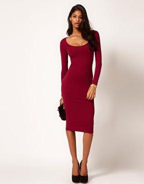 Aumentar Vestido ajustado por la rodilla y manga larga