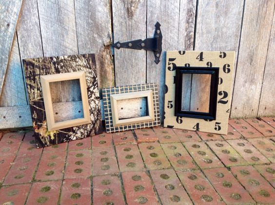Fabric Covered Picture Frame Set Wood Frames by TheRedWoodBarn