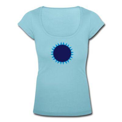 Frauen-Shirt mit U-Boot-Ausschnitt und Sonne in zwei Blautönen