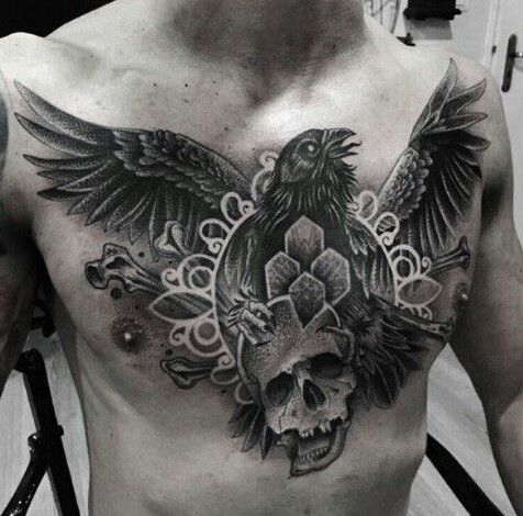The One Communicating With Purgatory Crow Tattoo Tattoo Ideas Crow Tattoo Tattoos Crow Tattoo For Men