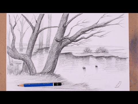 Learn How To Draw Tree Branches With Pencil Simple Realistic Drawing Youtube Tree Drawing Realistic Drawings Abstract Artwork