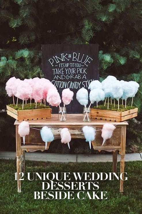 Take your guests by surprise by ending the night on a fabulously sweet note with these unique and fun wedding desserts. Click to view the full article: http://www.colincowieweddings.com/articles/food-drink/12-unique-wedding-desserts: