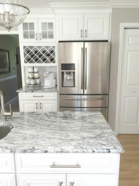 Cabinet Layout Next To Fridge Coffee Nook Transitional Kitchens Must Haves Visc In 2020 Kitchen Remodel Countertops White Granite Countertops White Granite Kitchen