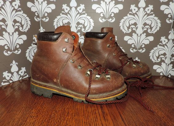 Leather HIKING BOOT Us men 7, Us Women 9 Eur 39, Uk 6 Brown Grunge Survivor Raichle Mountaineering Boots 80s Rugged Platform Camping by VintyThreads on Etsy