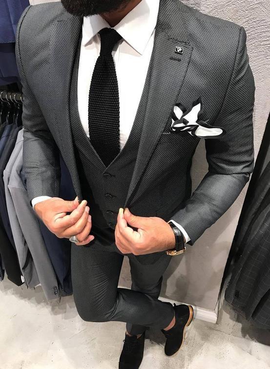 Dark Charcoal 3 Piece Suit Grey Suit Men Wedding Suits Men Grey Grey Suit Wedding