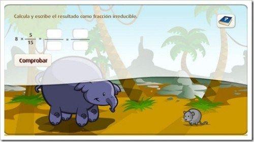 17. Ayuda al elefante a multiplicar fracciones.