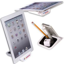 ABS plastic with thermoplastic rubber accents Holds your tablet or mobile device in a near-vertical position or lay almost flat on the non-slip edges Three pen slots including large center slot to hold a PL-4476 Gumbite® Styli and cup for paper clips, push-pins or other small desk items Silicone grip feet on base