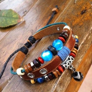National Blue Beads Leather Bracelet for only $9.90 ,cheap Fashion Bracelets - Jewelry&Accessories online shopping,National Blue Beads Leather Bracelet is a perfect gift for her.Do you think it is cute and beautiful?