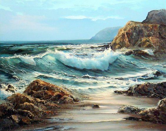 Paisajes y Bodegones: Paisaje con rocas del mar
