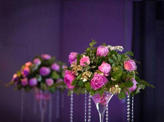 Fleurs mariage coupe martini centre de table cr ation marie p tale pinter - Fleurs table mariage ...