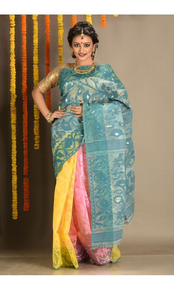Pink - Yellow - Parrot Green - 3D Dhakai Jamdani Saree - Colors Of Bengal - adi5611   Adimohinimohankanjilal