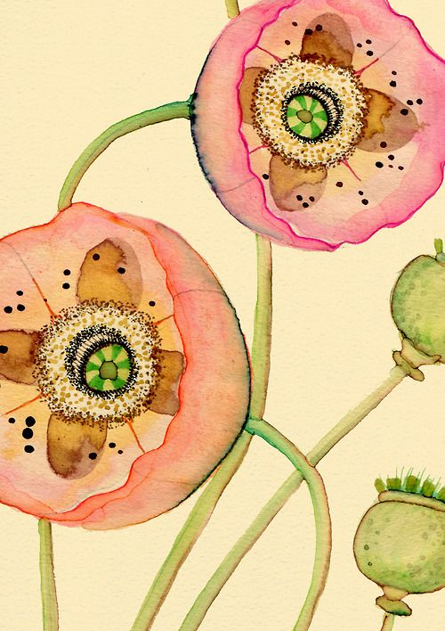 fbgfd: Art Watercolor, Colleen Parker, Orientalis Detail, Louise Poppy, Flowers Floral Design, Drawing Flowers