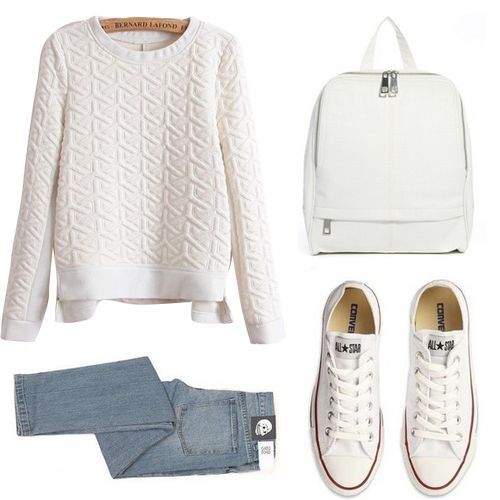 Minimal + Classic: whites with jeans featuring Converse