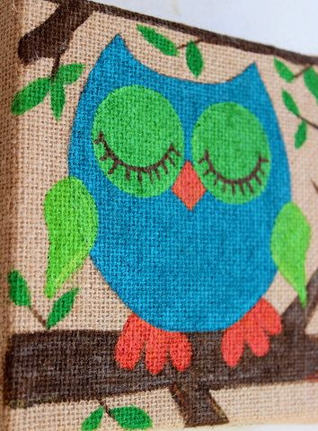 owl original painting 6x6 on burlap canvas, sleepytime owl, naptime owl, childrens room decoration: