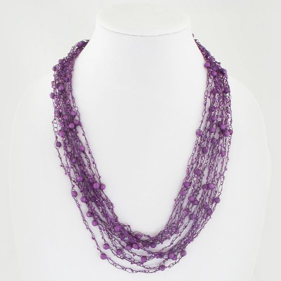 Purple Crocheted and Bead Multi Strand Necklace