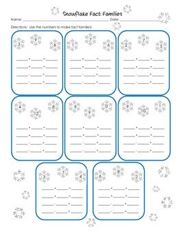 Number Names Worksheets winter worksheets for first grade : Seasons, Snowflakes and Fact families on Pinterest