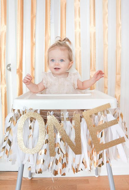 Colette's Gold and White First Birthday Party High Chair Decorations by Oakland Avenue
