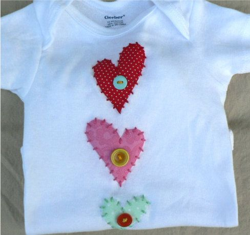 Heart Applique Baby Onesie.:
