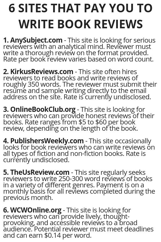 6 Sites That Pay You To Write Book Reviews Make Money Writing Writing A Book How To Get Money