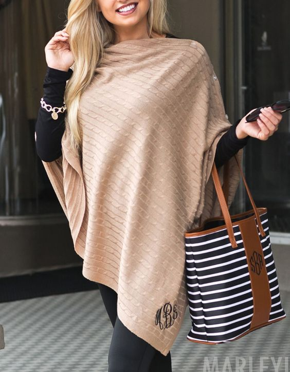 Darling monogrammed poncho