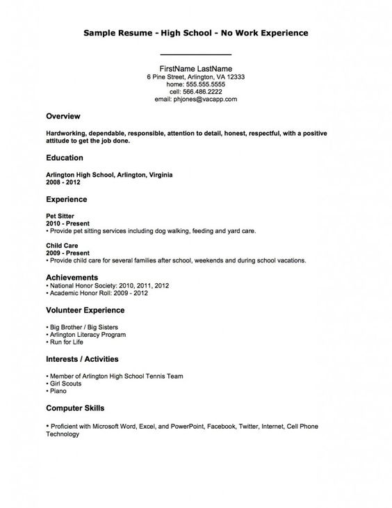 Sample resume high school no work experience first job for Sample resume for working students with no work experience