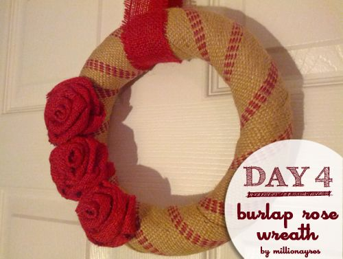 Burlap Rose Wreath: Love this! David's sister's blog. Could easily turn this into a baseball for Spring.