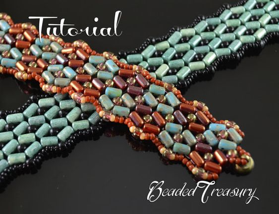 """Beading tutorial, rulla bead pattern, bracelet pattern with rulla, matubo and seed beads. """"SuperRulla"""" / TUTORIAL ONLY"""