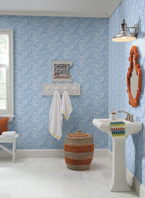 Ride the Wave Wallpaper in Blue by York Wallcoverings
