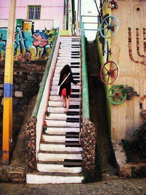 Piano Stairway music art piano stairs steps grafitti