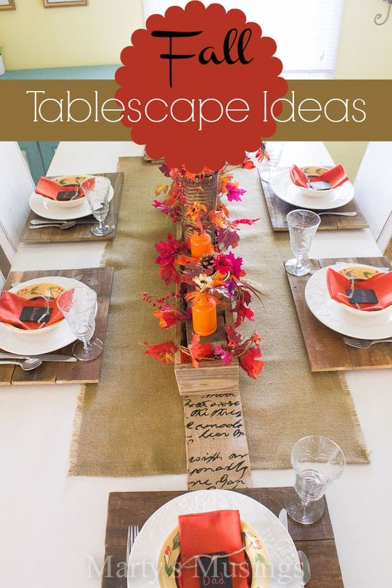 Fall Tablescape Ideas Wooden Containers Unique And Glasses
