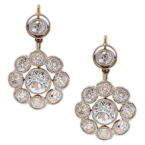 Edwardian Diamond Gold Platinum Dangle Earrings 1